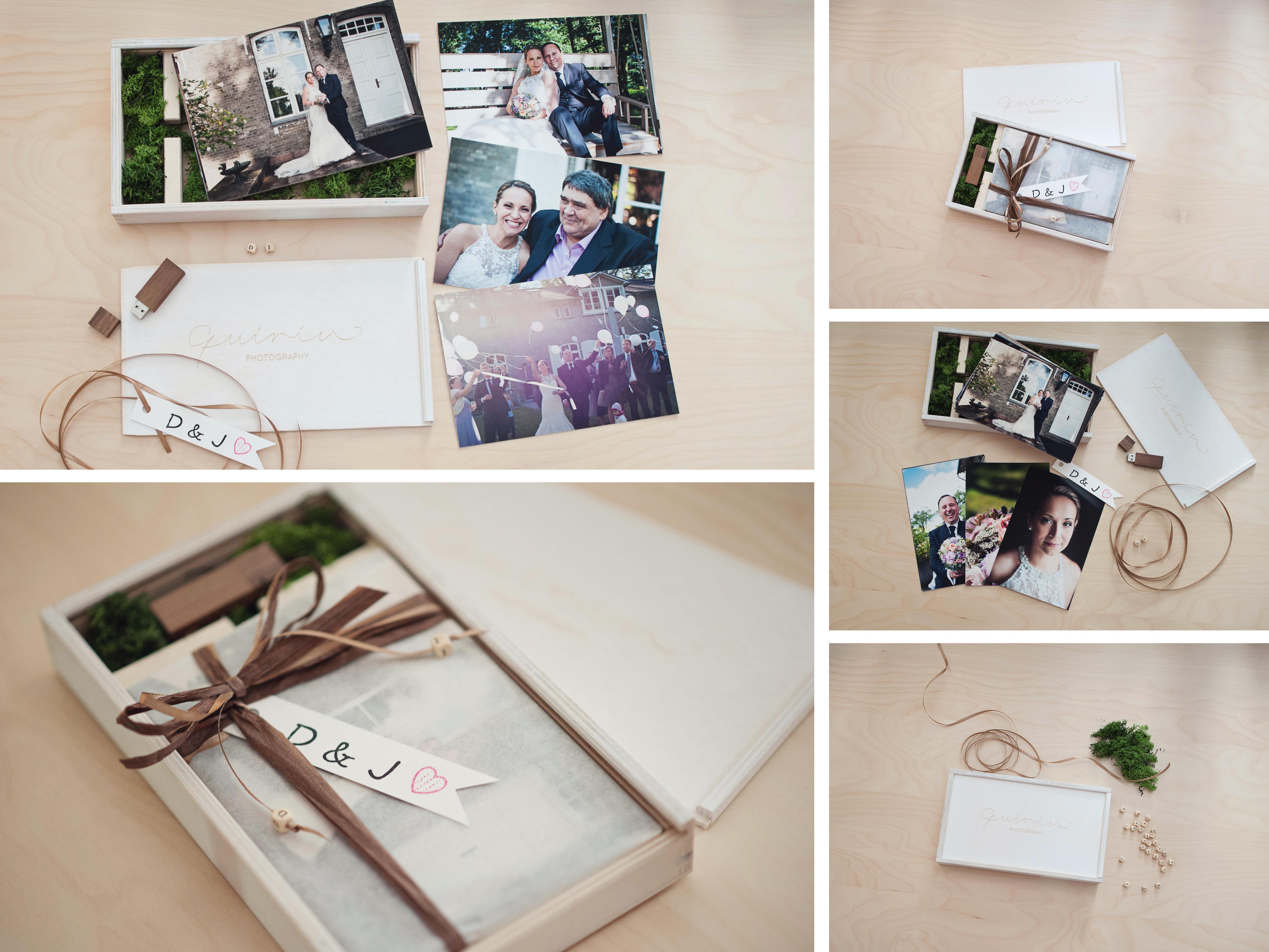 Eine Holzbox zur Übergabe eurer Bilder