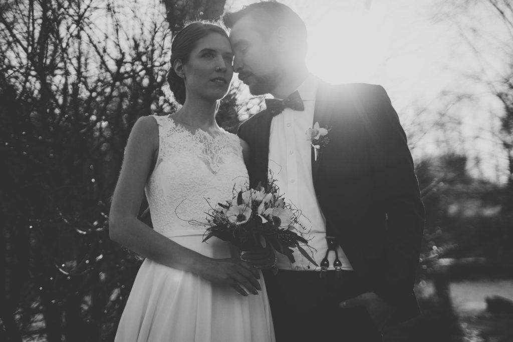 Brautpaar im Gegenlicht Seehotel Töpferhaus