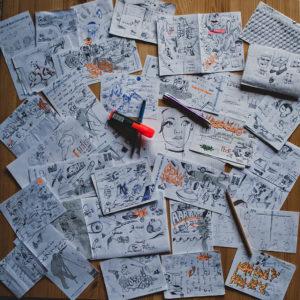 zeichnungen auf tisch
